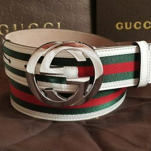 😎Authentic Gucci Belt White Green Red Stripes GG